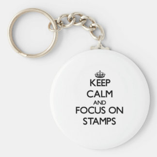 Keep calm and focus on Stamps Basic Round Button Key Ring
