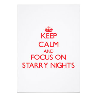 """Keep Calm and focus on Starry Nights 5"""" X 7"""" Invitation Card"""