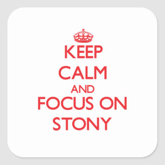 Keep Calm and focus on Stony Square Sticker