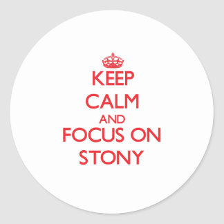 Keep Calm and focus on Stony Round Stickers