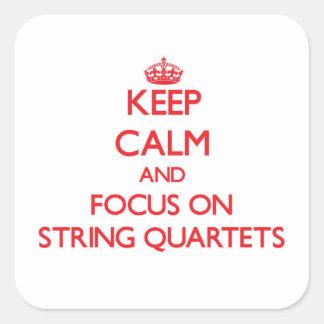 Keep Calm and focus on String Quartets Square Sticker