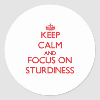 Keep Calm and focus on Sturdiness Round Stickers
