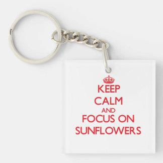 Keep Calm and focus on Sunflowers Square Acrylic Keychain