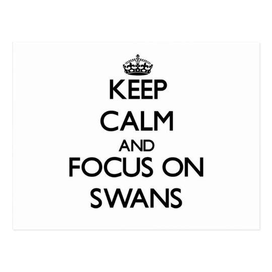 Keep Calm and focus on Swans Postcard