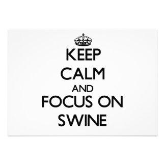 Keep Calm and focus on Swine Custom Invitations