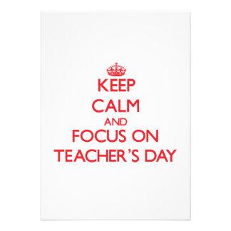 Keep Calm and focus on Teacher S Day Custom Invitations