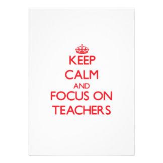 Keep Calm and focus on Teachers Custom Invitation