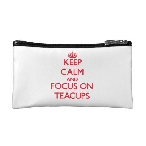 Keep Calm and focus on Teacups Makeup Bag
