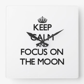 Keep Calm and focus on The Moon Wall Clock