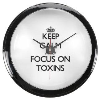 Keep Calm and focus on Toxins Aquarium Clocks