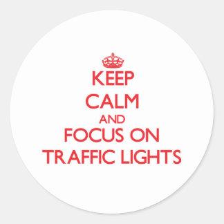 Keep Calm and focus on Traffic Lights Round Sticker