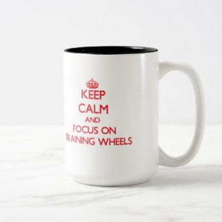 Keep Calm and focus on Training Wheels Two-Tone Coffee Mug