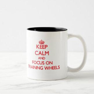 Keep Calm and focus on Training Wheels Two-Tone Mug
