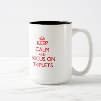 Keep Calm and focus on Triplets Two-Tone Mug