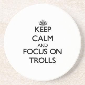 Keep Calm and focus on Trolls Beverage Coasters