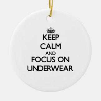Keep Calm and focus on Underwear Round Ceramic Decoration