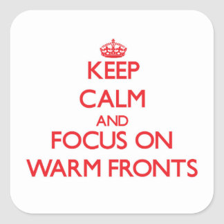 Keep Calm and focus on Warm Fronts Square Stickers