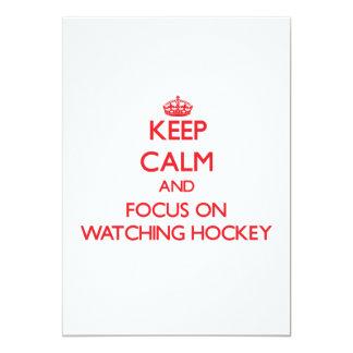 "Keep Calm and focus on Watching Hockey 5"" X 7"" Invitation Card"