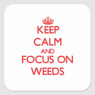 Keep Calm and focus on Weeds Square Stickers