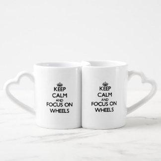 Keep Calm and focus on Wheels Couple Mugs