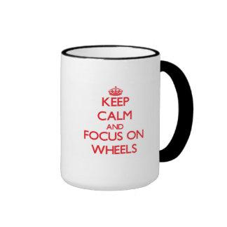Keep Calm and focus on Wheels Ringer Coffee Mug