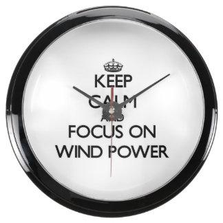 Keep Calm and focus on Wind Power Aqua Clock