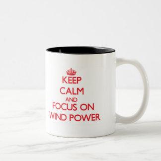 Keep Calm and focus on Wind Power Two-Tone Mug