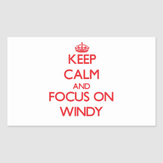 Keep Calm and focus on Windy Rectangle Stickers