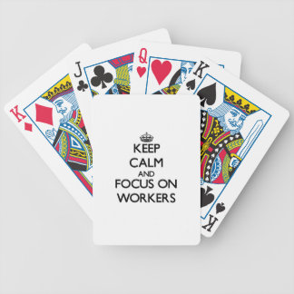 Keep Calm and focus on Workers Bicycle Card Deck
