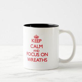 Keep Calm and focus on Wreaths Two-Tone Mug