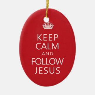 Keep Calm and Follow Jesus Christian Humor Ceramic Oval Decoration
