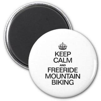 KEEP CALM AND FREERIDE MOUNTAIN BIKING REFRIGERATOR MAGNETS