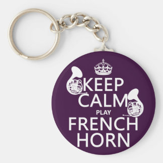 Keep Calm and French Horn (any background color) Basic Round Button Key Ring