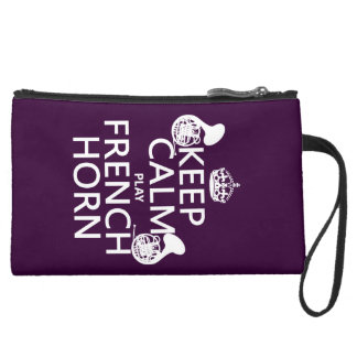 Keep Calm and French Horn (any background color) Suede Wristlet