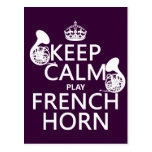 Keep Calm and French Horn (any background colour) Postcard
