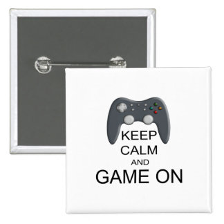 Keep Calm And Game ON 15 Cm Square Badge