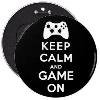 Keep calm and game on 6 cm round badge