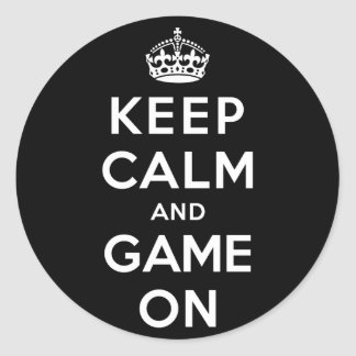 Keep Calm and Game On Round Sticker