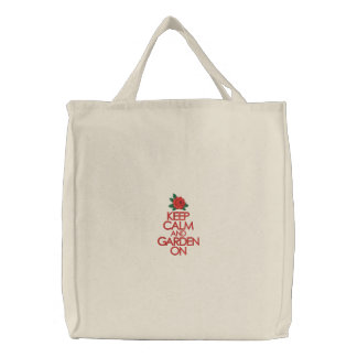 Keep Calm and Garden On Embroidered Tote Bag