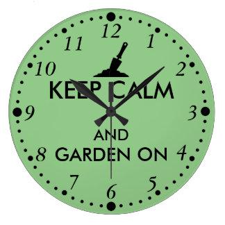 Keep Calm and Garden On Gardening Trowel Custom Clock