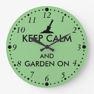 Keep Calm and Garden On Gardening Trowel Custom Large Clock