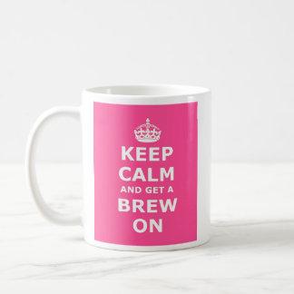 Keep Calm and Get a Brew On Basic White Mug