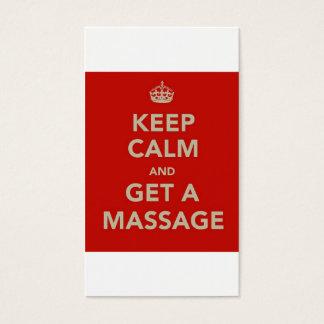 keep calm and get a massage business card