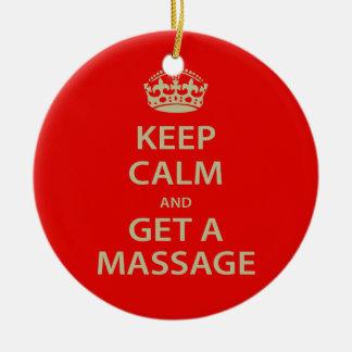 Keep Calm and Get a Massage Christmas Ornament