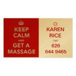 keep calm and get a massage II Business Card Templates