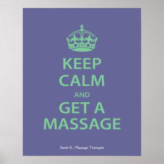 Keep Calm and Get a Massage Poster