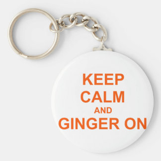 Keep Calm and Ginger On orange pink red Key Ring