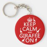 Keep Calm and Giraffe On (customise colours) Key Chain