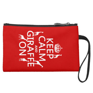 Keep Calm and Giraffe On (customize colors) Suede Wristlet