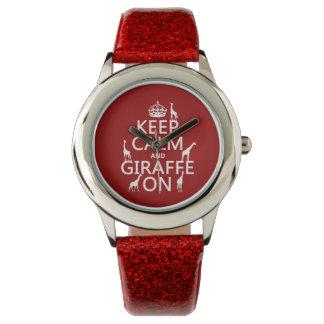 Keep Calm and Giraffe On (customize colors) Watch